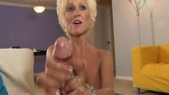 Sluty Senior Female Jerks Off A Younger Stud