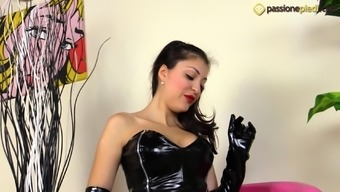 Sexy Eden is dressing leather dress and wants you to see her both feet