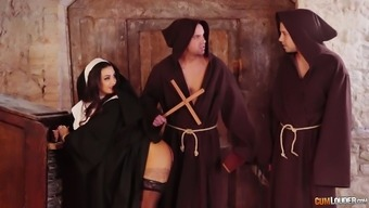 Sexy sinful nun Susy Gala is fucked by 2 horny monks