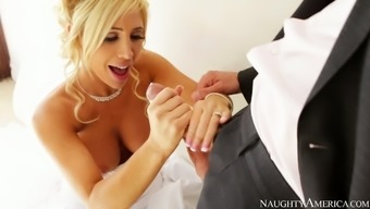 Sizzling blonde bride Tasha Reign gives blowjob to really her fiancé Ryan Driller