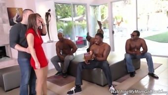 Bday date Alana Trip is fucked by a variety of horny black dudes