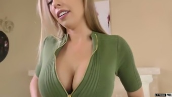 Bosomy super sexy babe Britney Amber rubs her clit while riding dick