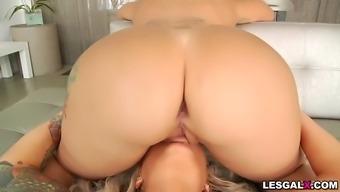 Blonde lesbians brandi bae and nina kayy hot anal fuck