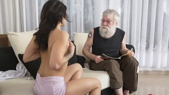 Old Youthful Pornography Attractive Teen Fucked by old one upon the couch