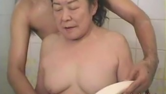Japanese people granny having fun make-love