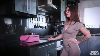 Dame in eye-glasses Lacey Channing exhibits her titties and offers a yum-yum blowjob
