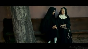 Stained and sexy brown nun Charlotte Stokely wickedly masturbates