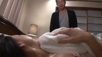 Japanese milf seducing her thing to do son for some notable pussy bashing