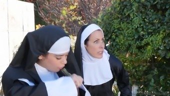 Amazing lesbian pussy consuming along with a strong nun Katie holmes Morgan