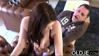 Old Young Magnificent Large TITS love fucks old man cums in her your mouth intense