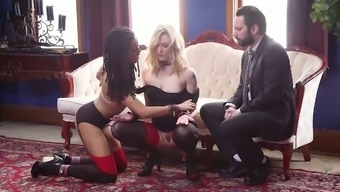 Servitude chick Dahlia Surroundings and her GF are fucked by one kinky hunk