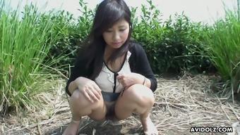 Vulgar buxom Japanese people hottie Karin Asahi gonna get her pussy mocked outdoors