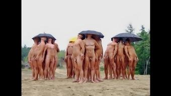 Nudists having fun Summertime
