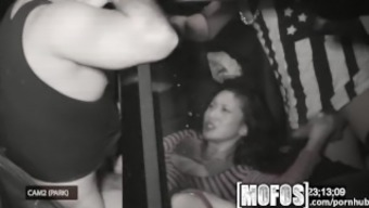 Mofos - Threesome along with Alina LI is snagged on camcorder