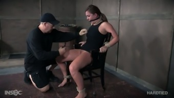 Hogtied submissive slut Maddy Oreilly gets her nipples attached complicated