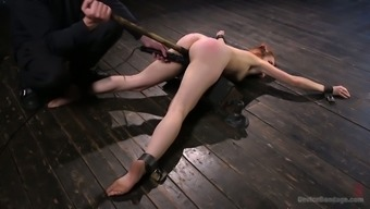 Bent over the wooden club docile redheaded Amarna Miller gets masturbated very difficult