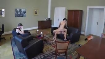 HUNT4K. Brunette Erica Black rides guy's rod in front of her cuckold