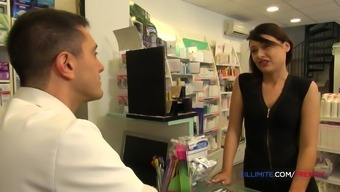 French brunette Anna Siline fucked in the pharmacy