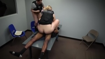 Black dude with a thick dong fucks two police women