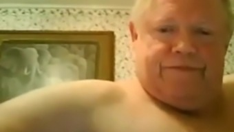 Horny fat grandpa jerking off on the bed