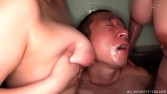 Instead of massage oiled Japanese girls gets a hard dude's shaft