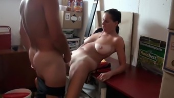 Naughty Divorced MILF with BIg Tits With Neighbor in Garage