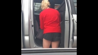 Red suds black duds (candid booty) carwash