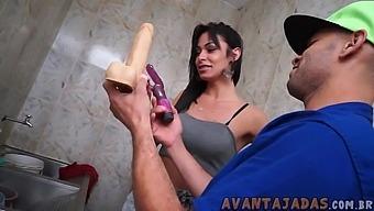 Hot Tgirl fucks the plumber