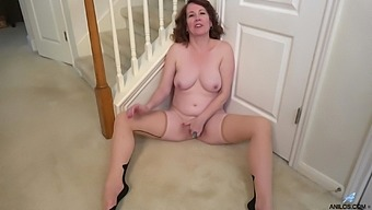 Charli Hope plays with her cunt by the staircase and cums hard