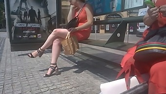Woman with chubby sexy legs on bus stop