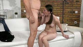 Pigtailed Ukrainian girl Sasha Haven gives older man a ride on top