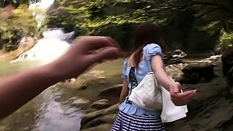 Japanese people twofold blowjob backyard