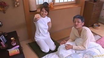 Lucky dude gets his dick pleasured by kinky masseur Akiho Yoshizawa