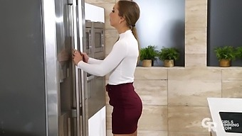 Not a kitchen angel Bambi Silk gives a blowjob to her husband