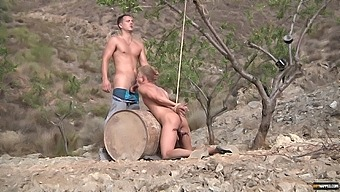 Hardcore outdoors anal sex between a male slave and a nasty perv