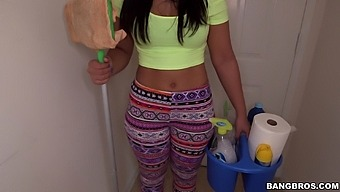 Naughty cleaner Ava Sanchez cleans the house naked for extra cash
