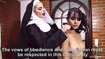 Naughty nuns drop their panties to have kinky sex with a strapon