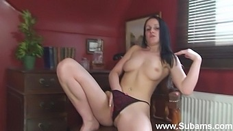 Sweet brunette Maggie makes herself cum while masturbating