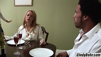 Naughty blondes Cindy Behr and Paige Ashley tagteam black cock