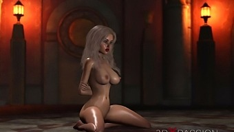 Two shemale witches play with a hot blonde