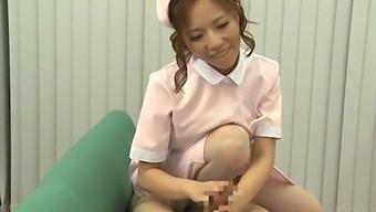 Naughty Japanese nurse Saijou Ruri loves playing with a stiff shaft