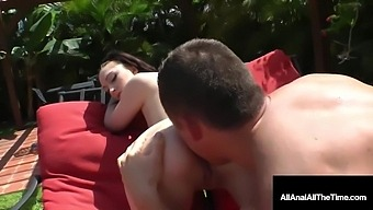 18yo Is Gaped, Ass Fucked & More By Rock Hard Dick By The Pool! With Alana Rains