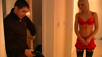 Stunning blonde model Alexandra Cat in red outfit gets fucked hard