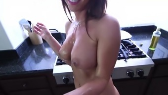 Rahyndee James kitchenette fucking POV along with handjob cultivate whole