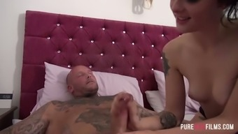 Tattooed teasing chick Alessa Destructive gets woken over by roused bf
