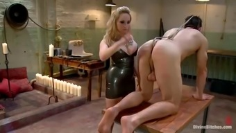 stud gets gagged and fucked in stupid ass by spiteful lady with strapon