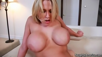 substantial boobed love alanah rae beating herself down upon his excess weight junk
