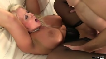 Astoundingly whorable blond homemaker gives large blowjob and rimjob