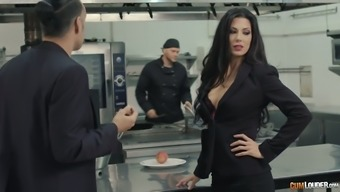 Mean cook is fucking Alexa Tomas's pussy right on the kitchen counter