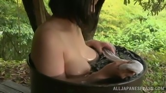 Adorable Japanese Babe Needs a Fine Tub Outside In A Wonderful Story